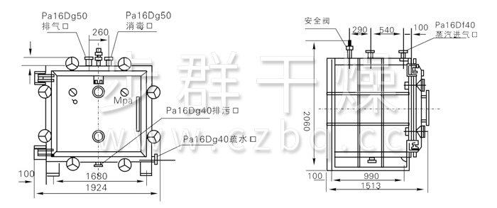 方形静态真空干燥机结构示意图